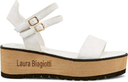b9e93d428119 Dámske sandále na kline LAURA BIAGIOTTI 621 NABUK WHITE - Glami.sk