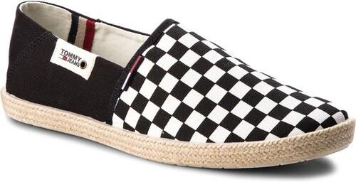 -31% Espadrilky TOMMY JEANS - Check Slip On Shoe EM0EM00098 Black White  Check 901 7c925991c28