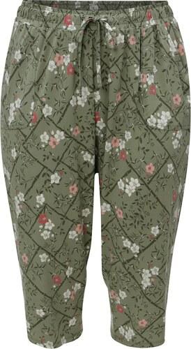 Zelené květované zkrácené dámské kalhoty s elastickým pasem M Co ... 08654cd117
