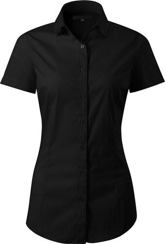 5bb8a40c35b3 The SHE Čierna elegantná dámska slim fit košeľa s krátkym rukávom ...