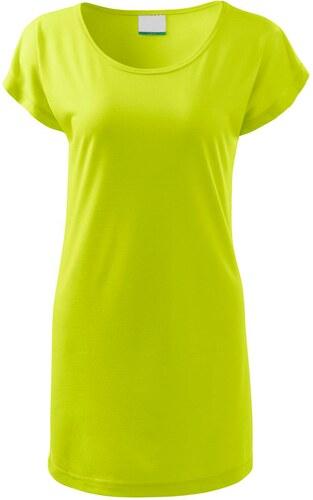 30f9bbafcff8 The SHE Limetkově zelené dámské dlouhé tričko šaty - Glami.cz