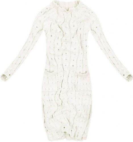 The SHE Smotanovo biely dlhý dámsky sveter pletené šaty - Glami.sk ab6a574ef9d