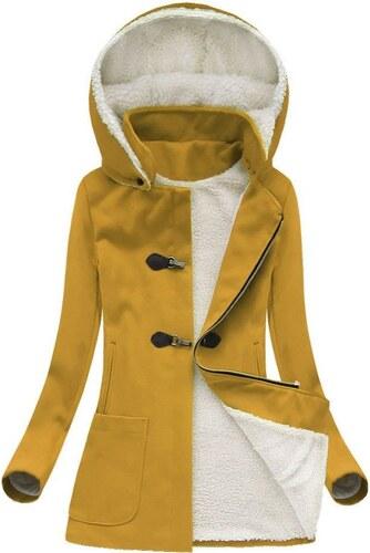 42e96ba5ac74 The SHE Žlutý dámský zimní kabát s kožíškem - Glami.cz