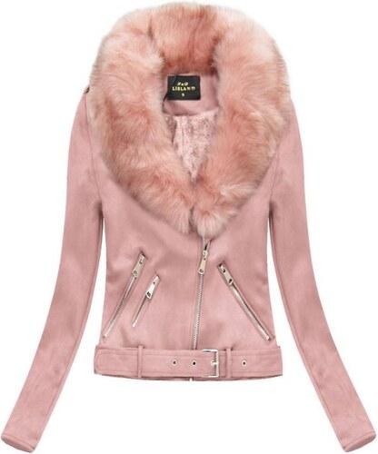 The SHE Ružová semišová dámska bunda s kožušinou - Glami.sk 36493c6b3dd