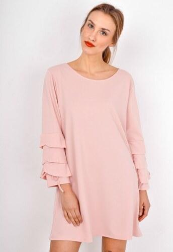 The SHE Púdrovo ružové dámske šaty s volánmi na rukávoch - Glami.sk 6b22cdd7f50