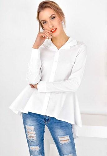 3da0eb3a770a The SHE Biela asymetrická dámska košeľa s perličkami - Glami.sk