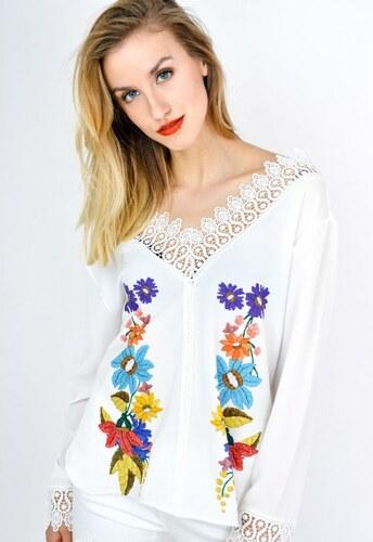 1da79b411438 The SHE Biela štýlová dámska blúzka s kvetmi - Glami.sk