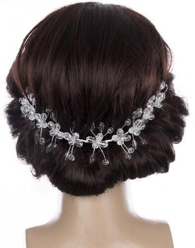 Fashion Icon Svatební ozdoba do vlasů - čelenka Diamond Flowers krystalky a perly  do vlasů d217db4a5f