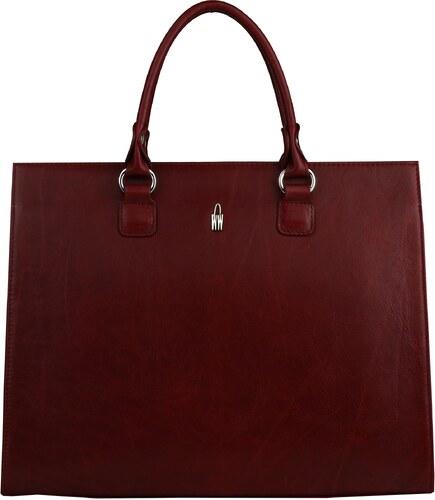 cb51757b60 Wojewodzic pracovná kožená taška do ruky na laptop bordová 31726 ...