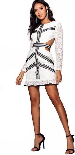 b7fbba27226f BOOHOO Biele krajkové bodycon šaty Tess s odhaleným chrbtom - Glami.sk