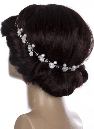 4d7397f818b Fashion Icon Svatební ozdoba do vlasů - čelenka Diamond krystalky a perly  do vlasů