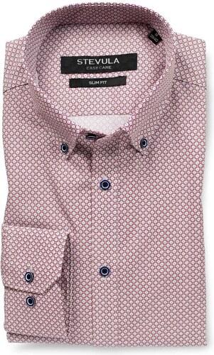 e3e4cbabbed3 STEVULA Bordová vzorovaná slim fit košeľa z popelínu - Glami.sk
