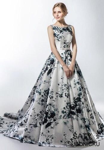 6246ed725ab Helen Fontaine Luxusní saténové šaty s květinovým potiskem - Glami.cz