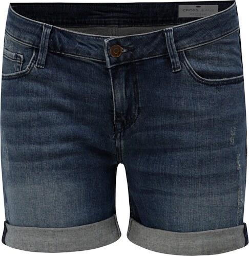 d5591c59e86 Tmavě modré dámské džínové regular short kraťasy Cross Jeans - Glami.cz