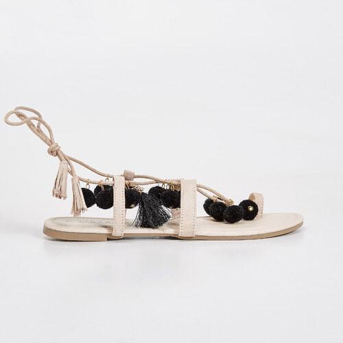 5f49460f258f Sinsay - Sandále s brmbolcami - Krémová - Glami.sk