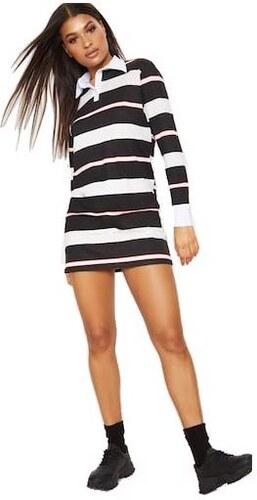 PRETTYLITTLETHING Tričkové šaty s golierom a prúžkom - Glami.sk 397bf9e851c