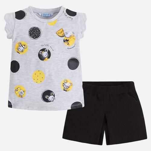 a129b5c16fc MAYORAL dívčí set kraťasy a tričko s krátkým rukávem a potiskem - černo šedý
