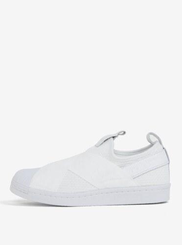 -17% Biele dámske slip on s koženými detailmi adidas Originals Superstar f263a351f5c