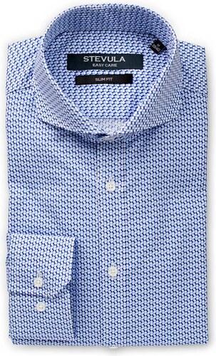 273626b89942 STEVULA Modrá vzorovaná pánska košeľa z popelínu