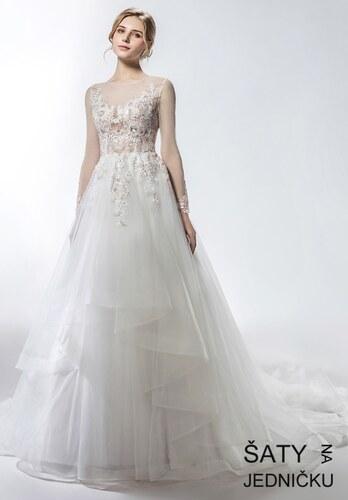 Helen Fontaine Svatební šaty se zdobeným živůtkem a dlouhým rukávem ... 5a8ddff8e1