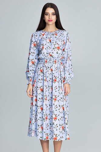 4149bdbe2540 Figl Svetlomodré kvetované šaty M600 - Glami.sk