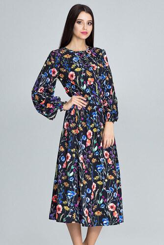 bae0466f73dc Figl Čierne kvetované šaty M600 II - Glami.sk