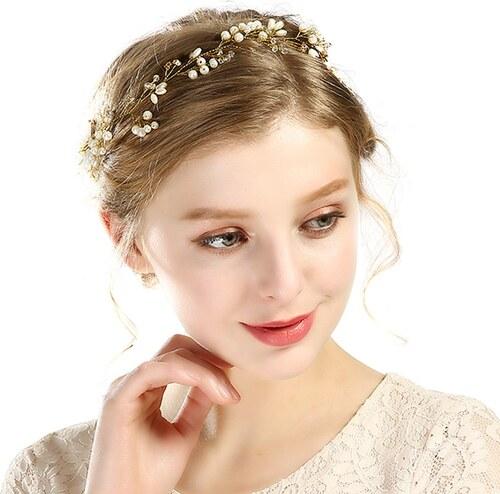 a0332c07b3d B-TOP Svatební ozdoba do vlasů S PERLAMI A KAMÍNKY - bílá zlatá ...
