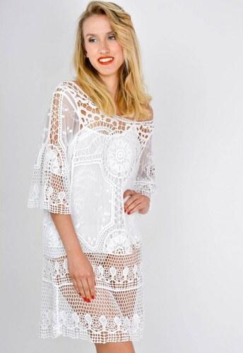 3c41cedb12a7 The SHE Biela letná dámska tunika šaty s krajkou - Glami.sk