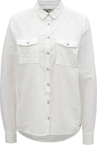 6b2b94e5ac9f Biela dámska ľanová košeľa s vreckami Garcia Jeans - Glami.sk