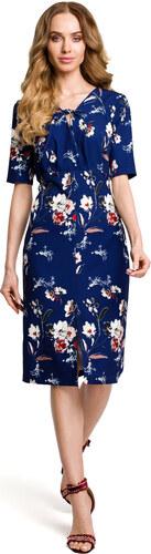 cdb4b7421ce3 Tmavomodré letné púzdrové šaty s kvetinovým vzorom MOE383 - Glami.sk