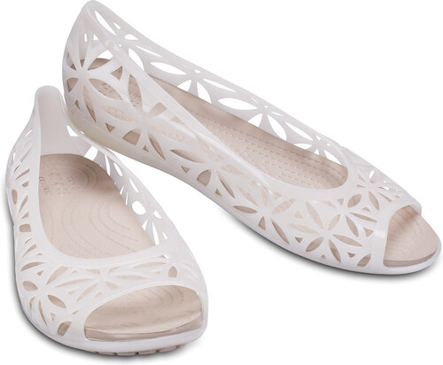 Crocs biele dierkované balerínky Isabella Jelly II Flat Oyster Cobbelstone  Standard 51d35f4a7b