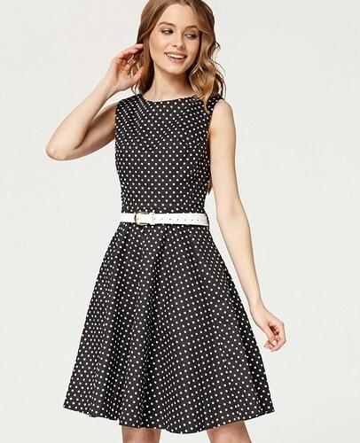 2ed7b6b6432 Černé šaty s bílými puntíky Misfit Marina - Glami.cz