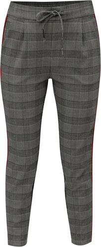 Šedé kostkované kalhoty s červenými pruhy a vysokým pasem VERO MODA ... ba744d9f5e