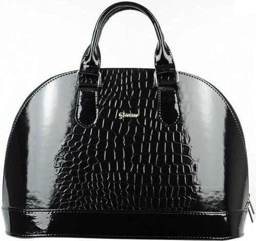 Elegantní černá lakovaná kabelka s krokodýlím vzorem S24 Grosso ... 2526d54bb04