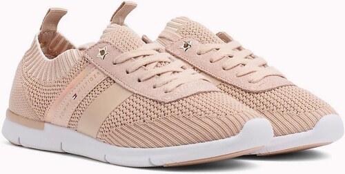 Tommy Hilfiger pudrové tenisky Knitted Light Weight Sneaker - Glami.cz 803acb0583e