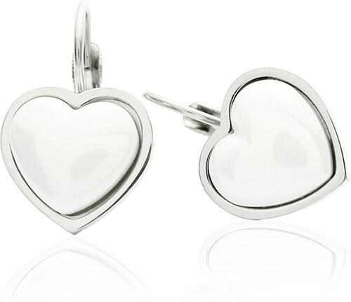 1166b9f3c BM Jewellery Náušnice keramické srdce Valentýn z chirurgické oceli S346120