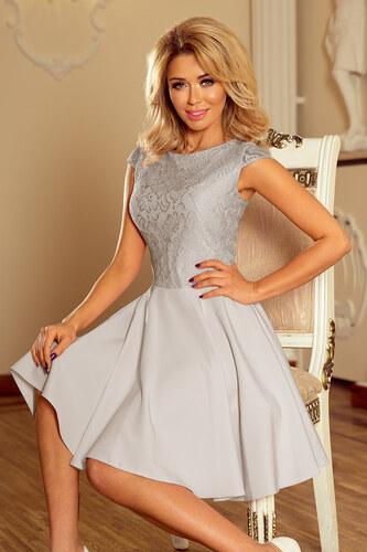 Dámske šaty s čipkou NUMOCO 157-6 - svetlošedé - Glami.sk 1e64ca7d2dc