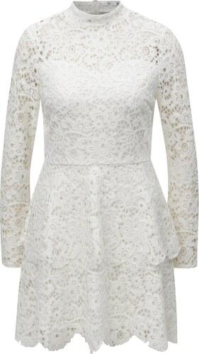 Bílé krajkové šaty s dlouhým rukávem MISSGUIDED - Glami.cz 5298e3d033