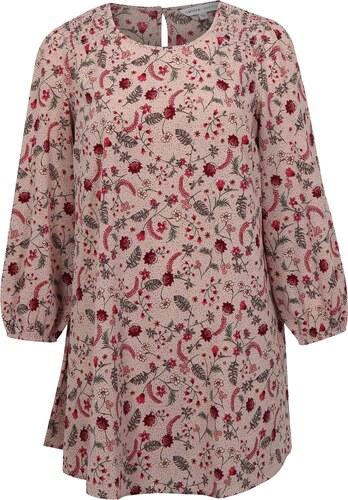 Růžové květované šaty s dlouhým rukávem simply be. - Glami.cz f1c2f025bdd