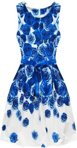 26cd93dc5ab4 Jejmoda.sk Dámske šaty kvetované bielo-modré MODA708 - Glami.sk
