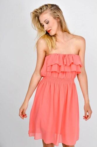 b719419c1dba The SHE Koralovo ružové volánové dámske šaty bez ramienok - Glami.sk