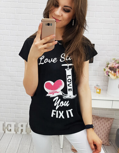 Dámské tričko Love černé - černá - Glami.cz 00127d7d13