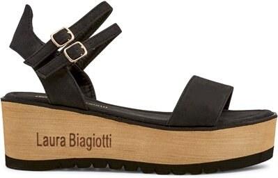 145948f43c60 Laura Biagiotti Dámske sandále na platforme 621 NABUK BLACK - Glami.sk
