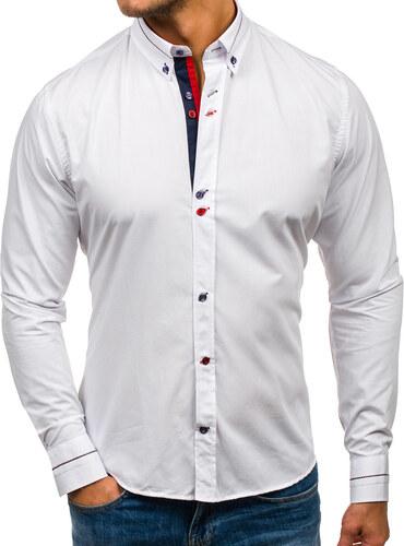 e89757bc4e57 Biela pánska elegantná košeľa s dlhými rukávmi BOLF 6870 - Glami.sk