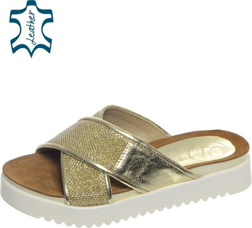 516c63b833d1 OLIVIA SHOES Zlaté dámske šľapky na športovej podošve DSL006 - Glami.sk