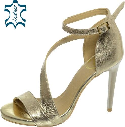 00b8a2e07f12 OLIVIA SHOES Zlaté sandále na vysokom podpätku DSA002-1 - Glami.sk