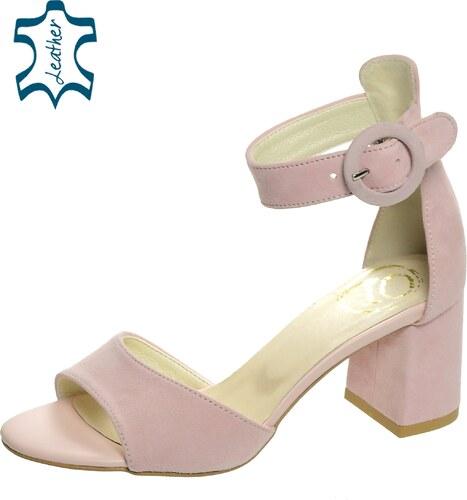 f77df8a8ce OLIVIA SHOES Ružové dámske sandále na hrubom podpätku DSA036 - Glami.sk