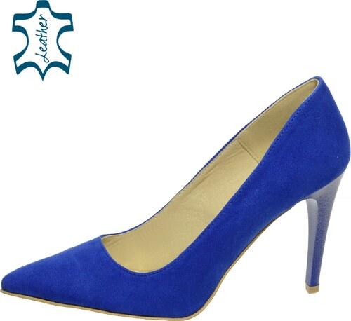 e2955bcdf8b OLIVIA SHOES Modré lodičky z brúsenej kože A944-1 - Glami.sk