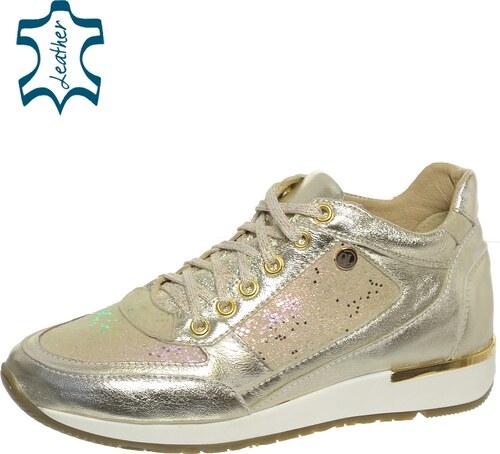 5876fe470a OLIVIA SHOES Zlaté kožené trblietavé tenisky DTE033 - designed by Jana  Hrmová