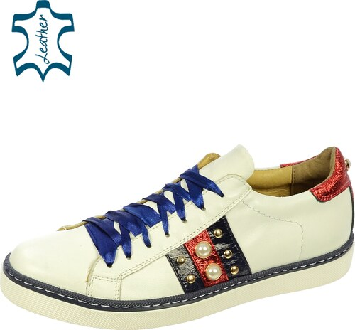 9c3e5b18116 OLIVIA SHOES Bielo-modré tenisky s ozdobou DTE053 - Glami.sk